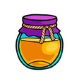 glass honey jar with textile part with cotton rope vector image