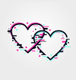 glitch hearts online dating service concept love vector image