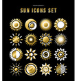 gold set sun design icons in modern style vector image