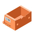 handly carton box icon isometric style vector image vector image