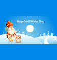 happy saint nicholas day - winter scene vector image vector image
