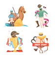 horse riding retro cartoon compositions vector image vector image