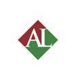 initial al rhombus logo design vector image vector image