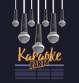 karaoke party music poster design with microphones vector image vector image