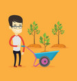man pushing wheelbarrow with plant vector image vector image