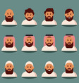 muslim face and torso flat icons vector image