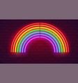 neon light on brick wall neon sign in shape of vector image vector image