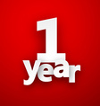 one year paper sign vector image