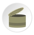 Opened can icon flat style vector image