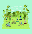 people practicing sports on the park vector image
