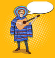 pop art mexican man in poncho playing guitar vector image vector image