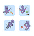 set vintage icon emoji octopus vector image