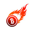 sign of a burning bitcoin on vector image