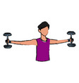 sport man biceps training with dumbbell vector image
