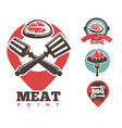 steak and sausage bbq cafe or restaurant isolated vector image