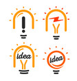 stylized lightbulbs logo set new idea and vector image vector image