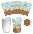 template paper cup with old town and inscription vector image vector image