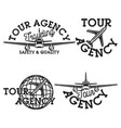 vintage tour agency emblems vector image vector image