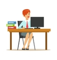 Woman Working At Her Desk With Computer And vector image vector image