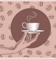 womans hand holding a coffee cup vector image vector image