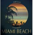 miami beach surf club concept summer surfing vector image