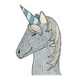 zen tangle and doodle unicorn zentangle blue vector image