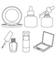 8 line art black and white cosmetic elements vector image