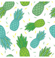 blue green pineapples doodle texture summer vector image vector image