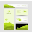 Business cards design with green meadow background vector image