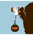 Business man with debt vector image