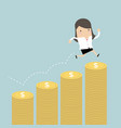 businesswoman jumping on the money step vector image