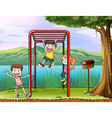 Cartoon Monkey Bar Kids vector image