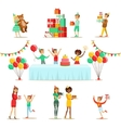 Children Birthday Party Set Of Scenes vector image vector image