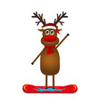 christmas reindeer on a snowboard vector image vector image