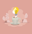 cup of coffee with light bulb isolated icon vector image