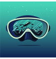 diving mask with scuba diver on reflection vector image