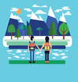 flat landscape Couple traveler with Backpack vector image