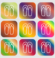 Flip-flops Beach shoes Sand sandals icon sign Nine vector image