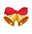 gold ringing christmas bells with red bow vector image