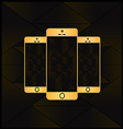 gold smart phone vector image vector image