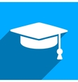Graduation Cap Flat Square Icon with Long Shadow vector image vector image