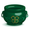 green empty pot with leaf clover ornament st vector image vector image