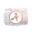 hand drawn halloween magic woman flying on broom vector image vector image