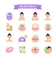 healthy skin and care flat icons vector image vector image