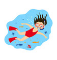 holiday scuba diving girl swimming vector image vector image