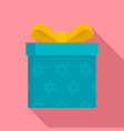 jewish gift box icon flat style vector image