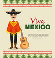 maxican mariachi with poncho and hat to event vector image vector image