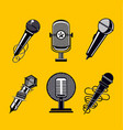 microphone icon set vintage mic collection vector image vector image