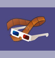 movie equipments filmstrip and glasses vector image