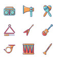 musical training icons set cartoon style vector image vector image
